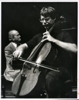 Lynn Harrell playing the cello with Brooks Smith at the piano, 1980 [descriptive]