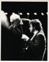 Schlomo Mintz (with his violin) and Isaac Stern, 1985 [descriptive]