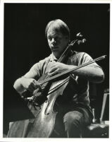 Lynn Harrell playing the cello, 1985 [descriptive]