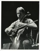 Lynn Harrell playing the cello, 1985 [descriptive]