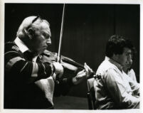 Isaac Stern playing the violin with Yefim Bronfman at the piano, 1986 [descriptive]