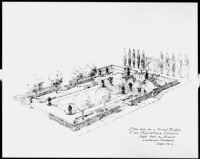 Base plan for a formal garden for Fox Movietone Studio, Westwood