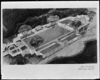 Drawing of garden of prayer, Glen Haven Memorial Park, San Fernando, [1946?]