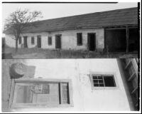 Rancho Los Cerritos, views of decaying house and door, split image, Long Beach, 1930