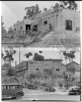Cliff Dwellers Cafe, 2 street level views, Los Angeles, 1932