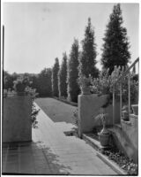 W. R. Dunsmore residence, view from terrace towards lawn with exedra, Los Angeles, 1930