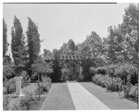 W. R. Dunsmore residence, view towards pergola in rose garden, Los Angeles, circa 1934