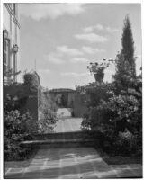 W. R. Dunsmore residence, view towards pergola in rose garden, Los Angeles, circa 1930