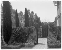 W. R. Dunsmore residence, view towards renovated terrace from rose garden, Los Angeles, 1934
