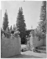 W. R. Dunsmore residence, view from terrace towards exedra lawn, Los Angeles, 1930