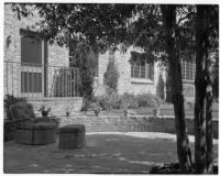 Barton Hepburn residence, patio and house, Beverly Hills, 1935