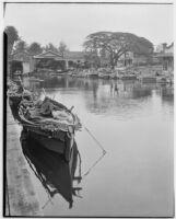 Wharf with fishing boats, Hawaii, 1928