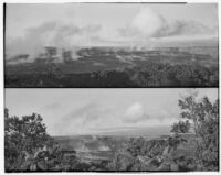 Two views of steaming volcanic crater and lava plain, Hawaii, 1928