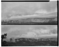 Two views of steaming volcanic lava plain, Hawaii, 1928