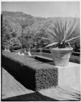 Wright Saltus Ludington residence, view from brick path towards oval reflecting pool, Montecito, 1931