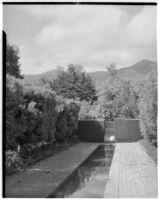 Wright Saltus Ludington residence, view of small reflecting pool, Montecito, 1931