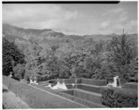 Wright Saltus Ludington residence, view from terrace towards oval reflecting pool, Montecito, 1931