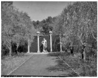 Wright Saltus Ludington residence, view of the Lansdowne Hermes statue at end tree-bordered lawn, Montecito, 1931