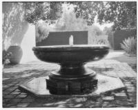 Wright Saltus Ludington residence, view of fountain in courtyard with brick pavement, Montecito, 1931