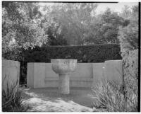 Wright Saltus Ludington residence, stone basin on pedestal, Montecito, 1931
