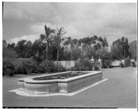 Alfred E. Dieterich residence, view of reflecting pool and lawn, Montecito, 1931