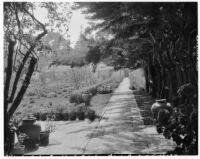 Allied Arts Guild of California, view towards walkway and garden, Menlo Park, 1932