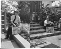A. G. Mersy residence, two images of a seated next to the house with a paving stone, Pasadena, 1933