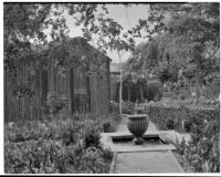 A. G. Mersy residence, fountain in center of planting beds, Pasadena, 1933
