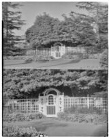 Two photographs of a garden gate on South Oxford Street, Los Angeles, 1931