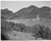 Lake Sherwood, view of the lake and the Santa Monica Mountains, Ventura County, 1922-1930