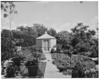 Dr. and Mrs. P. G. White residence, view towards parterre beds and lathhouse in cutting garden, Los Angeles, 1933-1938