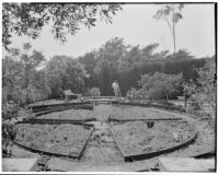 Dr. and Mrs. P. G. White residence, view towards cutting garden during construction, Los Angeles, 1933-1938