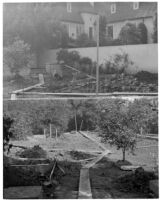Dr. and Mrs. P. G. White residence, two views of the cutting garden during construction, Los Angeles, 1933-1938