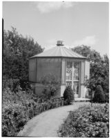 Dr. and Mrs. P. G. White residence, view towards lathhouse in cutting garden, Los Angeles, 1933-1938