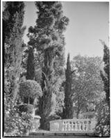 La Mortola botanical garden, view of a fountain and statues, Ventimiglia, Italy, 1929
