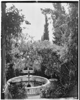 La Mortola botanical garden, view of a fountain from above, Ventimiglia, Italy, 1929