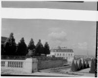 Parc de Saint-Cloud, view of a promenade and conical trees, Saint-Cloud, France, 1929