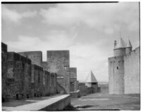 Ramparts and towers in the fortified town of Carcassonne, France, 1929