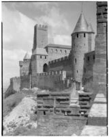 Exterior view of the ramparts around the fortified town of Carcassonne, France, 1929
