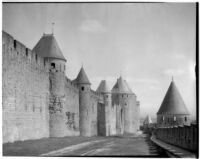Ramparts, battlements and towers in the fortified town of Carcassonne, France, 1929