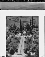 Gardens of Casa del Rey Moro, aerial view, Ronda, Spain, 1930