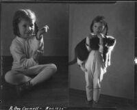 Rosita Dee Cornell holding a housecat, California, 1935