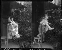 Two portraits of Rosita Dee Cornell playing on a backyard pipe railing, California, 1934