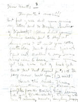 Handwritten letter to Mantle Hood from Shirley