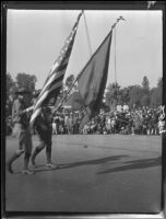 Color guard in Rose Parade, Pasadena, 1927