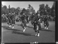 Bagpipe band in Rose Parade, Pasadena, 1927