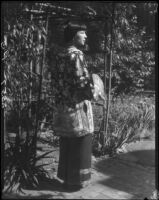 Rosemary Chew in the garden of the Otis Art Institute, Los Angeles, 1928