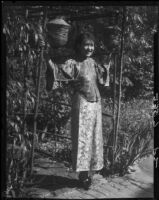 Olive Young in the garden of the Otis Art Institute, Los Angeles, 1928