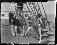 Women on boat deck, Santa Monica, 1930