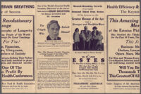 Brochure or advertisement describing 6-day lecture series by Dr. St. Louis Albert Estes in health efficiency and brain breathing, 1929 or 1935